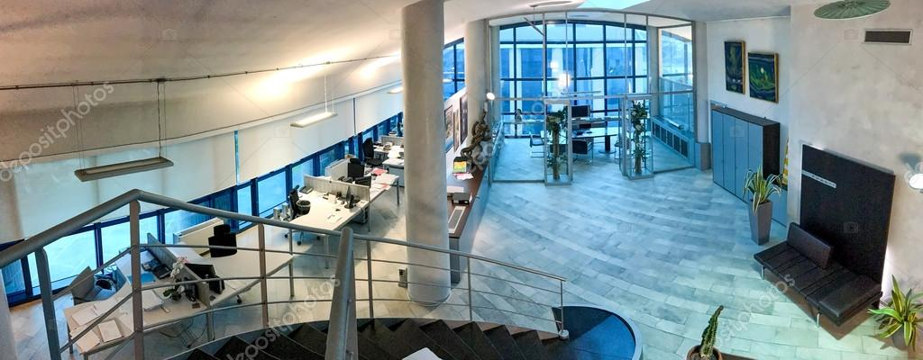 Modern office interior, panoramic view