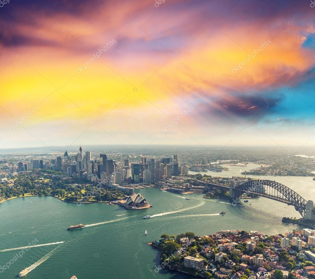 Sunset over Sydney Harbour, helicopter view