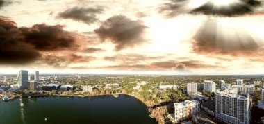 Beautiful sunset aerial view of Downtown Orlando