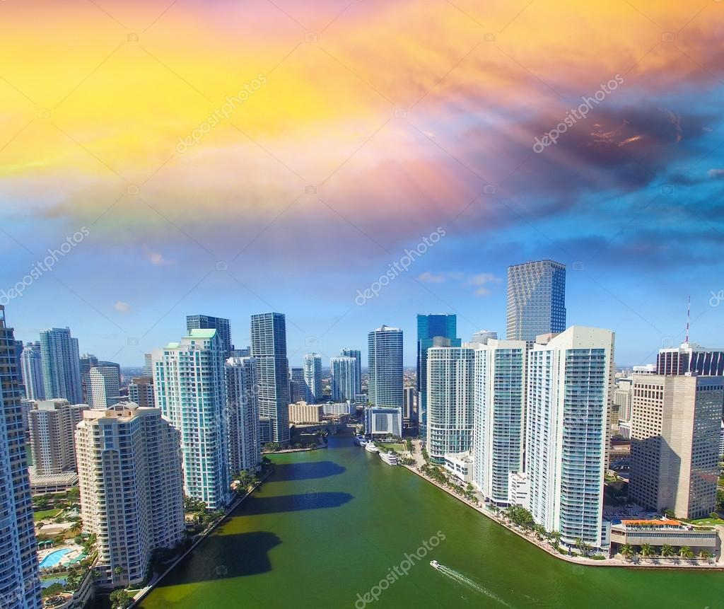 Downtown Miami skyline, beautiful aerial view on a sunny day