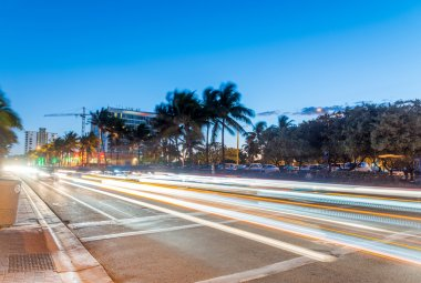 Beautiful seafront of Fort Lauderdale at night. City lights afte