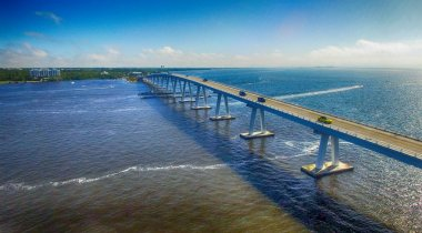 Sanibel Causeway as seen from helicopter