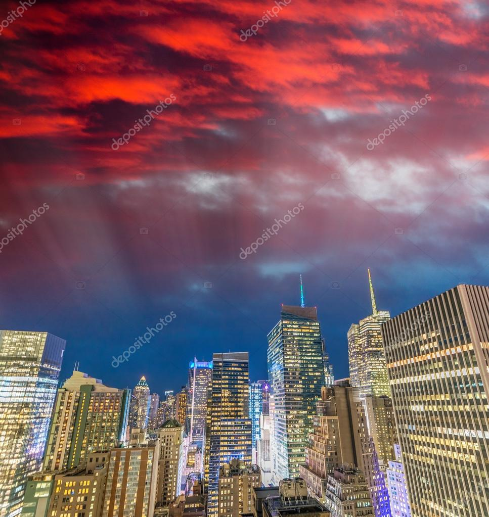 New York City at sunset. Amazing buildings from rooftop