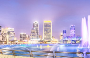 Lights of Jacksonville, Florida. City skyline at night