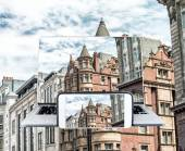 Photo Photographing and viewing old city buildings - London