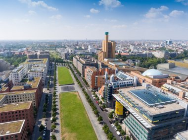 Aerial view of Potsdamer Platz area and gardens in Berlin, Germa