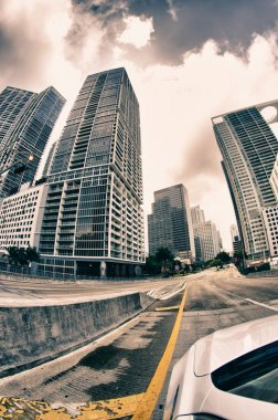 Fisheye view of Miami Roads in Winter