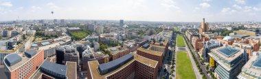 Aerial view of Potsdamer Platz area and gardens in Berlin, Germa