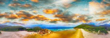 Squeaky Beach, Wilsons Promontory. Aerial panoramic sunset view. stock vector