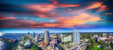 Sunset over Saint Petersburg, Florida - USA. Aerial view