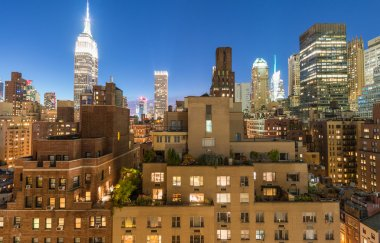 Midtown panorama at twilight from rooftop, New York City