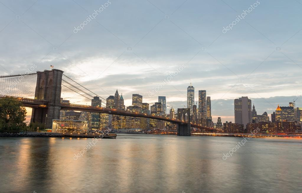 Magnificence of Brooklyn Bridge from Brooklyn Bridge Park at twi