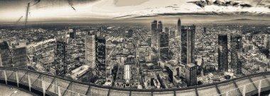 Frankfurt night skyline, panoramic aerial view