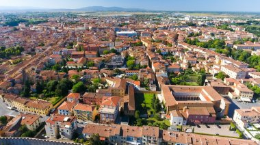 Aerial view of Pisa buildings, Tuscany, Italy
