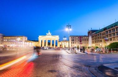 Magnificent night view of Brandenburg Gate and Pariser Platz in
