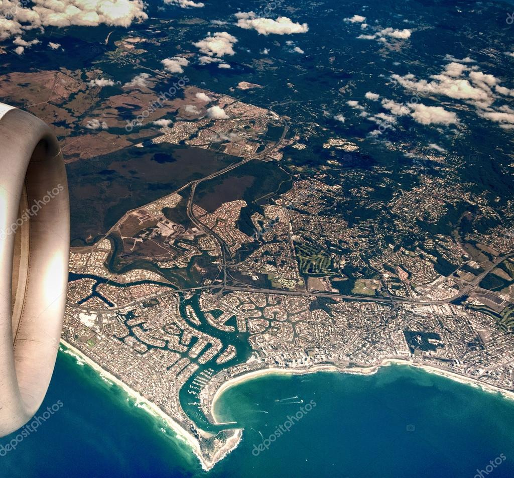 Australian coastline from the airplane