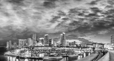 Black and white sunset skyline of Downtown Miami, Florida