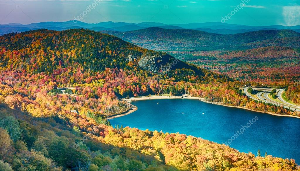 Magnificence of New England foliage scenario in autumn