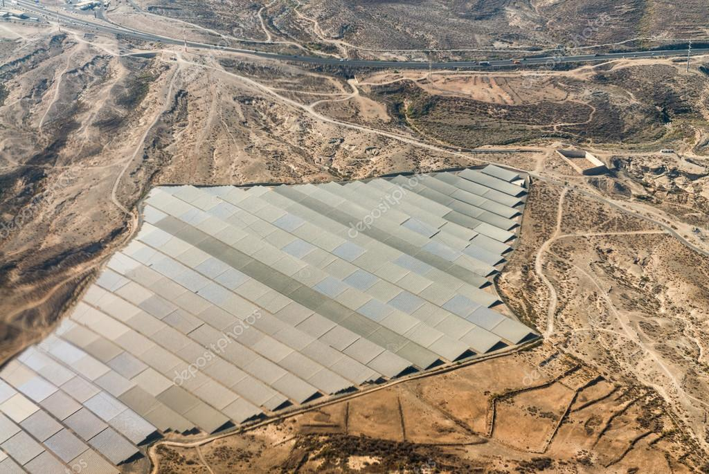 Solar panels plant as seen from airplane