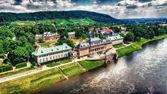 Letecký pohled na zámku Pillnitz, Německo