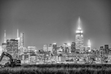 Midtown Manhattan night skyline from Jersey City, New York.