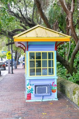 Colourful tropical wooden box in Miami streets.