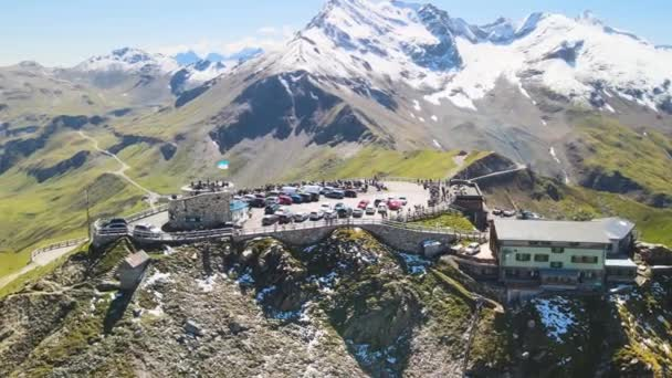 Grossglockner Mountains from drone in summer season. Aerial view of Edelweiss Spitze and surrounding peaks with fresh snow