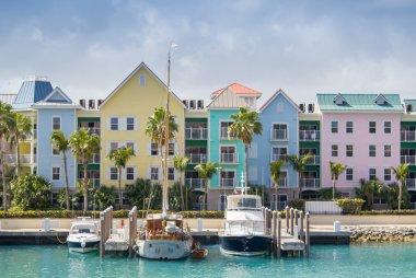 Nassau colourful homes along the ocean