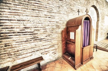 Confession box inside an italian church