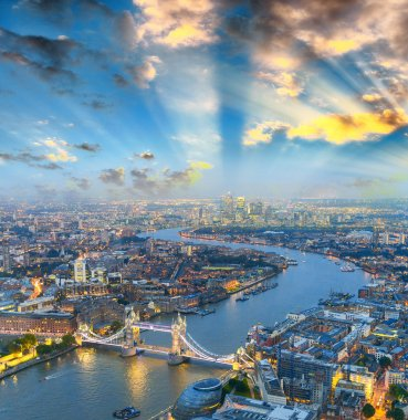Aerial view of Tower Bridge area and city light