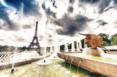 Trocadero zahrady s výhledem na Eiffelovu věž
