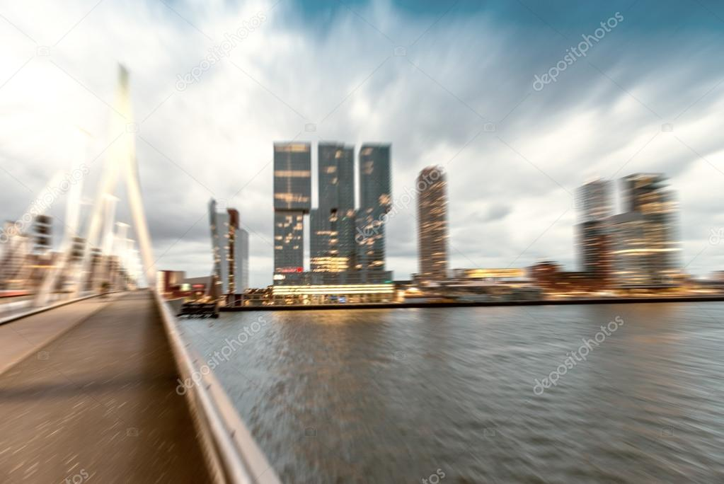 Rotterdam night skyline on a stormy evening, blurred view