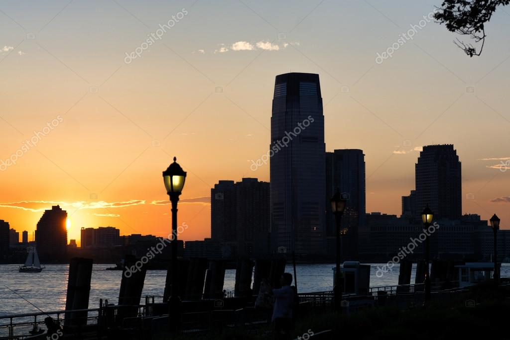 Jersey City at dusk, skyscrapers silhouettes