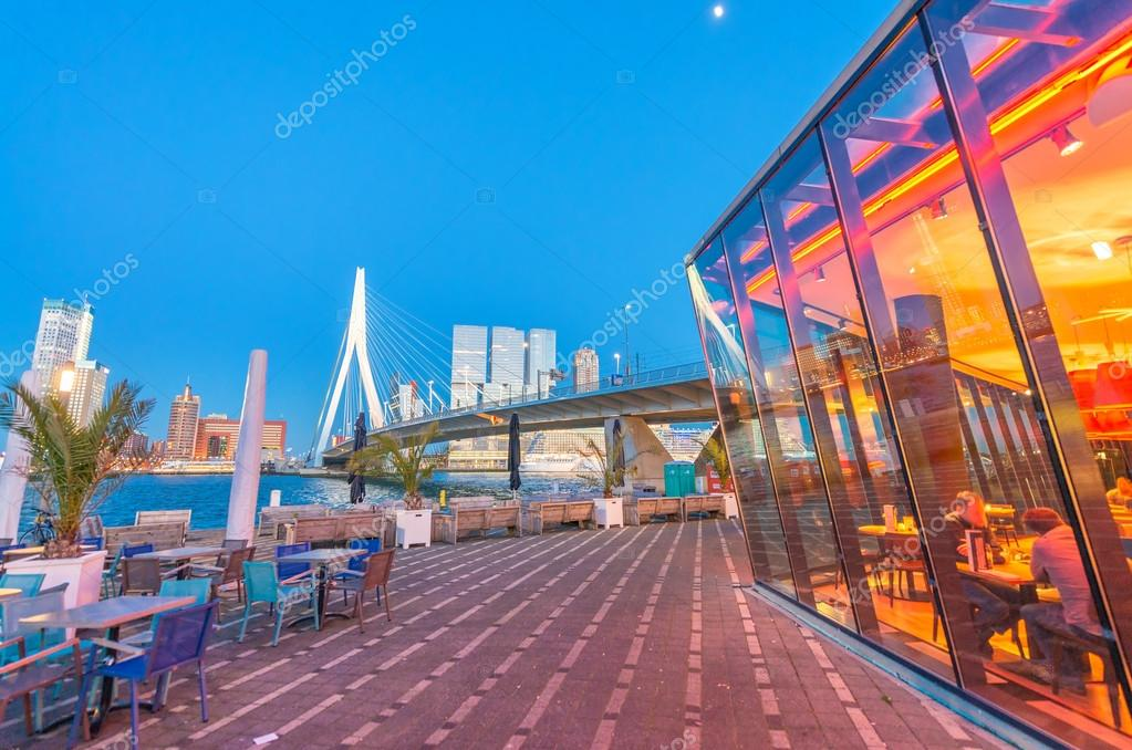 Rotterdam is a city defined by modern architecture - Night skyli