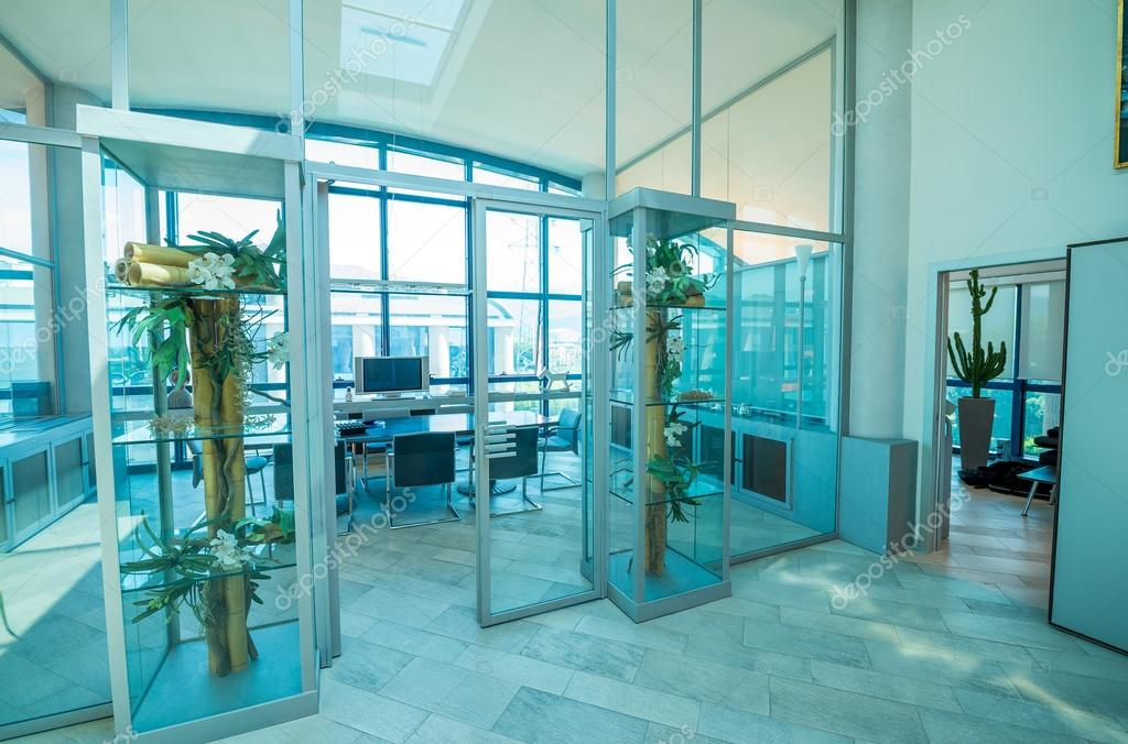 Office interior with glass doors