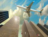 Fotografie Letadlo přelétá nad panorama New Yorku