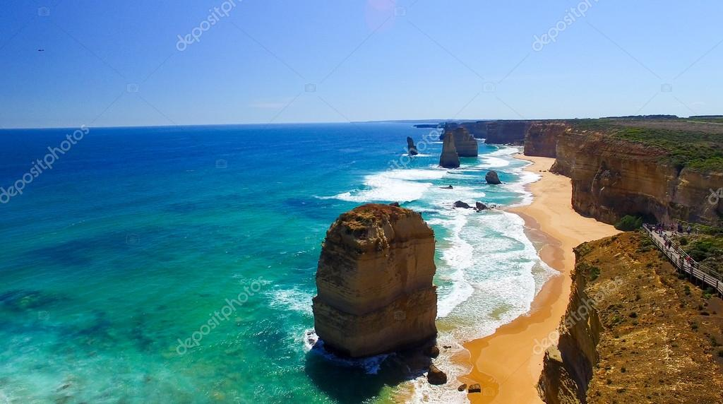 Twelve Apostles rocks in Australia at sunset along Great Ocean Road, Victoria -
