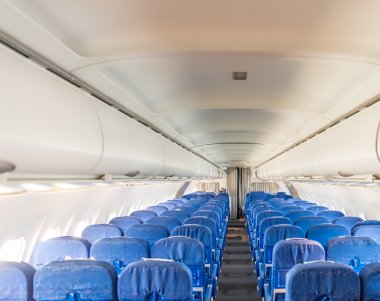 Empty airplane passengers seats. interior of modern passenger aricraft stock vector