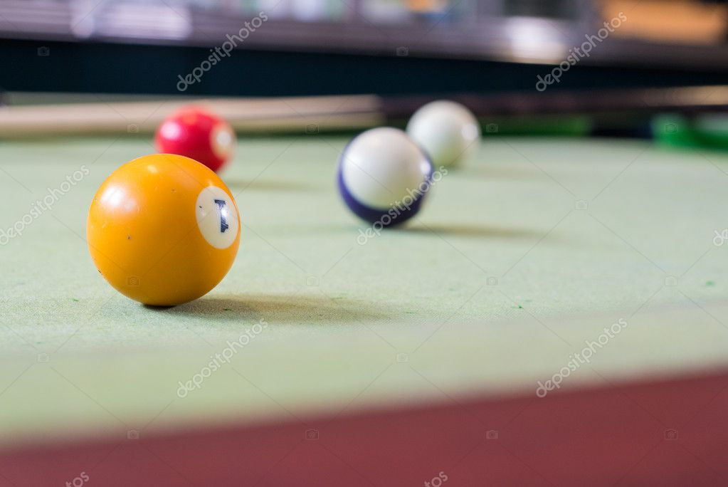 Billiard balls in a pool table