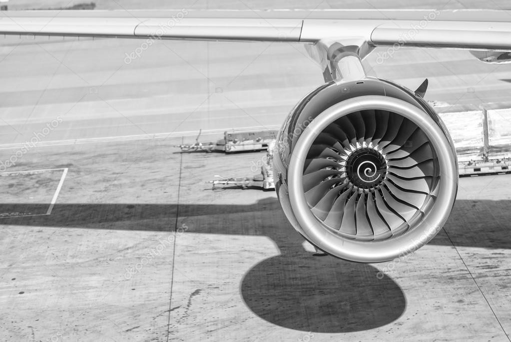 Engine of passenger airplane