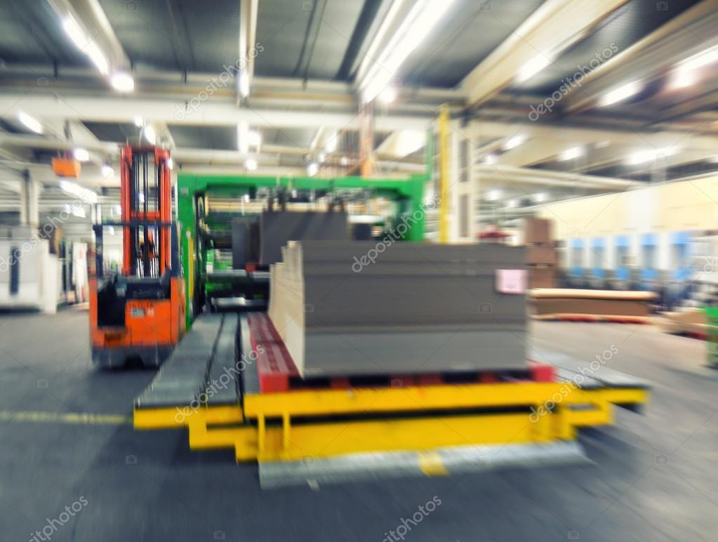 Interior of Paper Mill. Blurred view, industrial concept