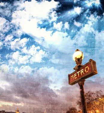 Metro sign in Paris. Vintage view