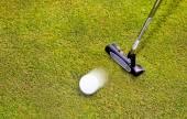 Golf: koulař klub s bílým golfový míček