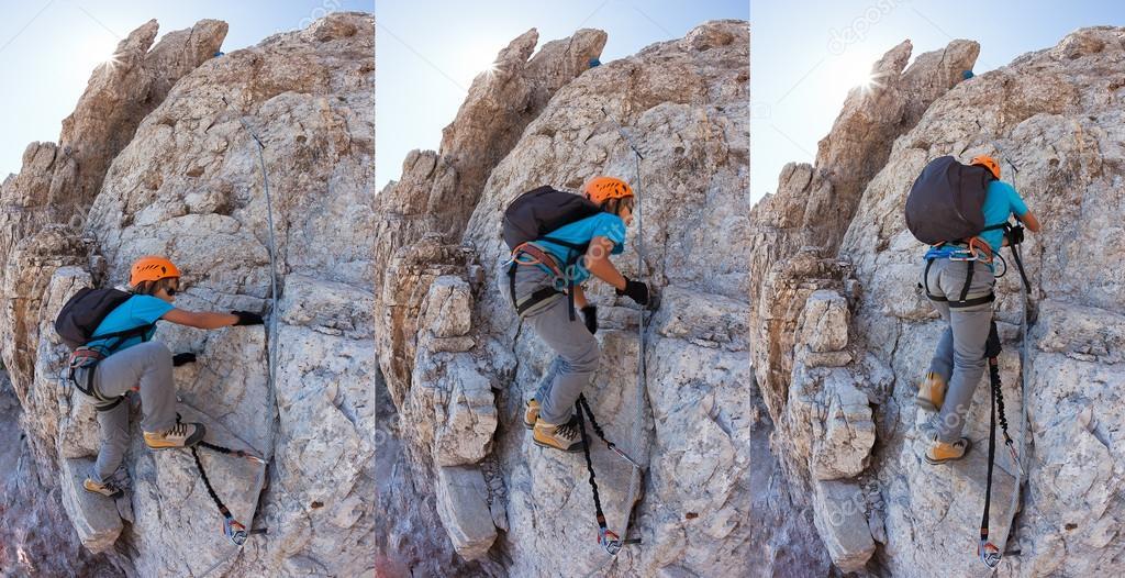 Klettersteig Weibl : Junge klettern ein klettersteig in den dolomiten u stockfoto