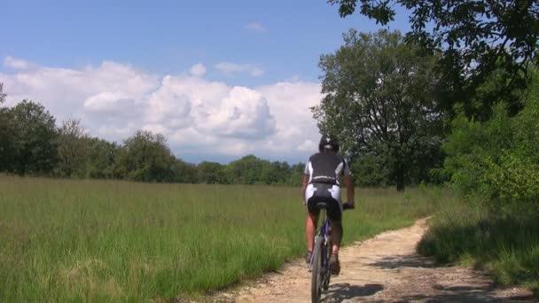 Mountain biker cycling