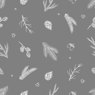 Xmas Seamless pattern with Christmas Tree Decorations, Pine Branches hand drawn art design vector illustration icon