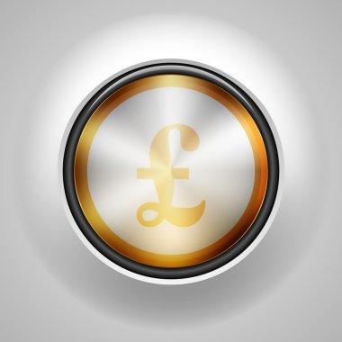 Pound Golden button sign illustration icon