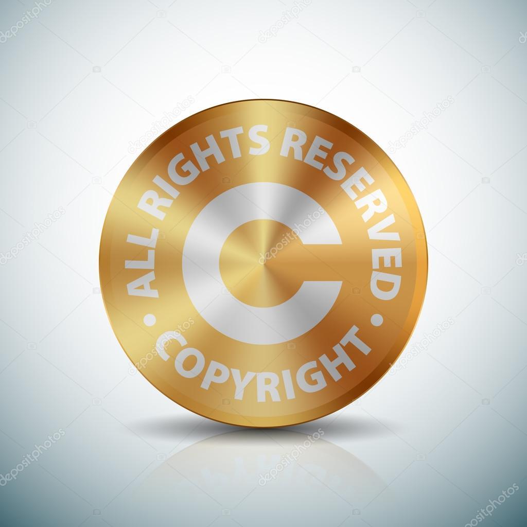 Icono de signo de botón de oro de derechos de autor — Vector de ...