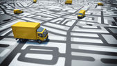 Fotografie map of streets with trucks