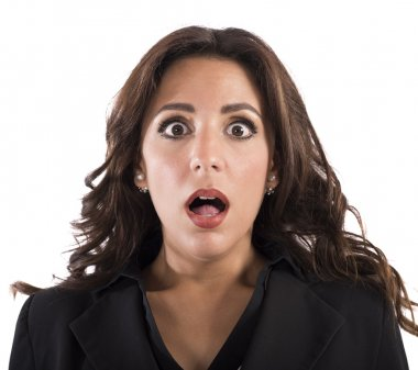 businesswoman with an astonished expression